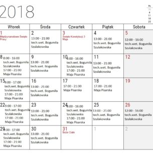 Grafik techników weterynarii na maj 2018